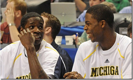 3, Manny Harris and 34, DeShawn Sims sitting on the bench, during Michigan's 73-45 victory over Iowa, in the first round of the 2009 Big Ten Tournament held in Indianapolis on March 12.