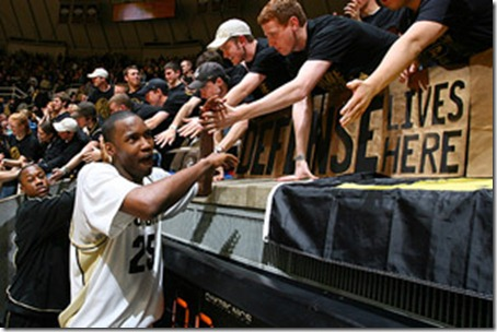 Feb 11, 2009; West Lafayette, IN, USA; Purdue Boilermakers center (25) JaJuan Johnson is greeted by the student section after the game against the Penn State Nittany Lions at Mackey Arena. Purdue defeated Penn State 61-47. Mandatory Credit: Brian Spurlock-US PRESSWIRE