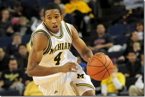 Guard Darius Morris (#4) during Michigan's 67-53 victory over Arkansas-Pine Bluff at Crisler arena on Saturday December 5th 2009.  (SAM WOLSON/Daily)