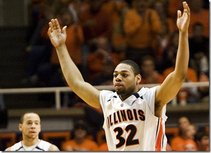 Josh Birnbaum The Daily Illini Illinois' Demetri McCamey raises his arms to get fans to cheer during the last home game of the season against Minnesota at Assembly Hall in Champaign, Ill., on Saturday, March 8, 2008.  Illinois defeated Minnesota, 67-58.  It was also the final home game for seniors Chris Hicks, Shaun Pruitt, and Brian Randle.