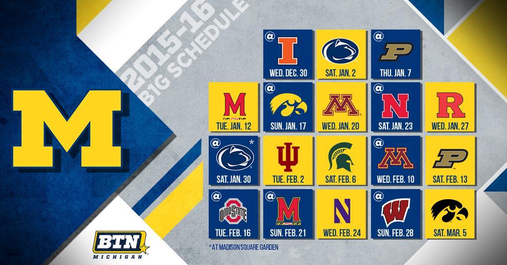 2015 16 Michigan Basketball Schedule Finalized With Big Ten