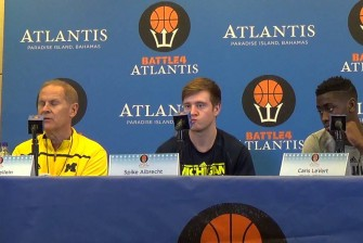 John-Beilein-Caris-LeVert-Spike-Albrecht-preview-UConn-Battle-4-Atlantis
