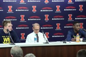 Michigan-at-Illinois-Presser-Mark-Donnal-and-Caris-Levert